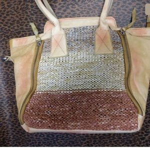 Free People Beige Pink 100% Leather Tote